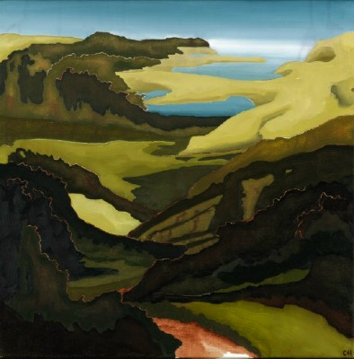 "littlelandscape 1, oil on canvas, 16"" by 16"", 2008, SOLD"