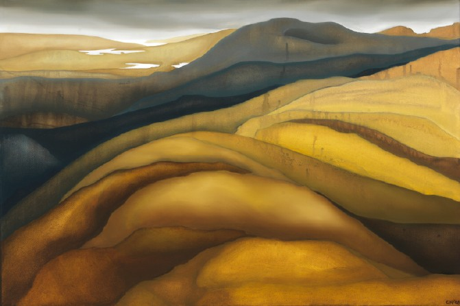 yellowblue hills, oil on canvas, 2' by 3'
