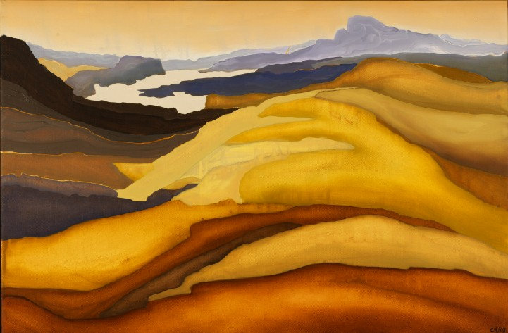 yellowpurple hills, oil on canvas, 2' by 3'