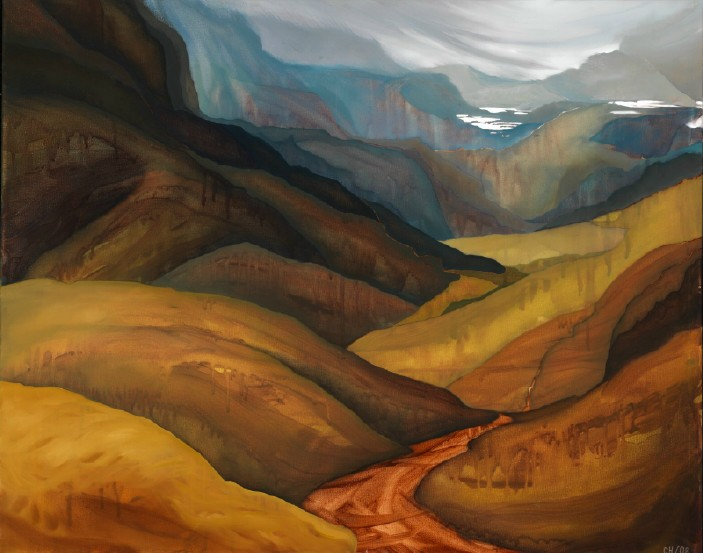 bluegrey mountains, oil on canvas, 3 by 4', 2008