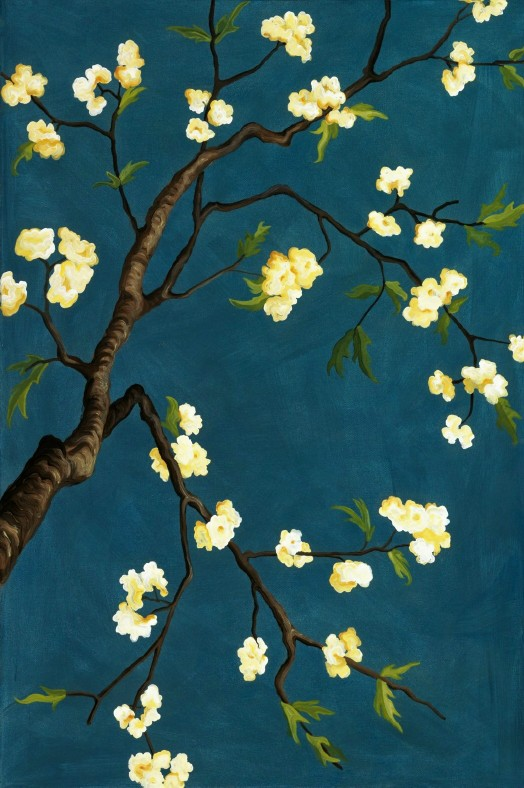 "cherry blossom branch, acrylic on canvas, 20 by 36"", 2009"