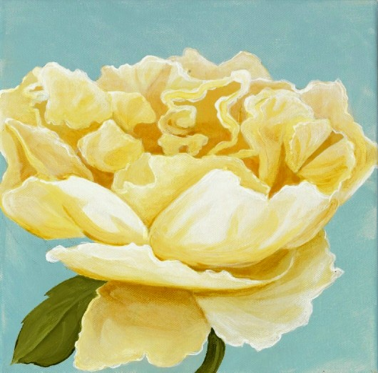 "white rose, acrylic on canvas, 12 by 12"", 2009"